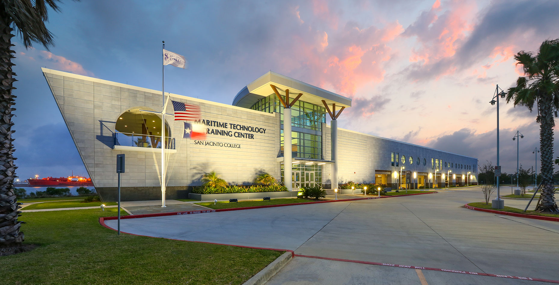 a dusk view of San Jacinto College Maritime Campus by an education Architectural Photographer in Houston