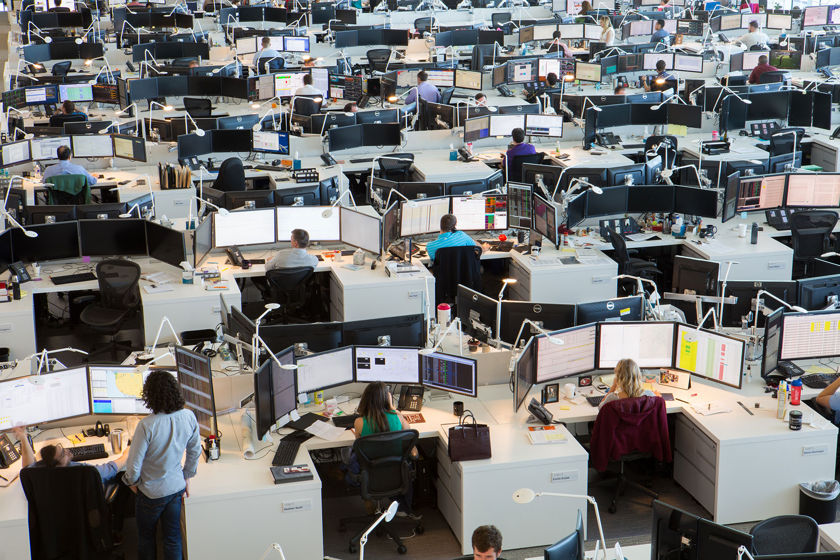 Stock trading floor in Houston, Texas by an annual report photographer in Austin