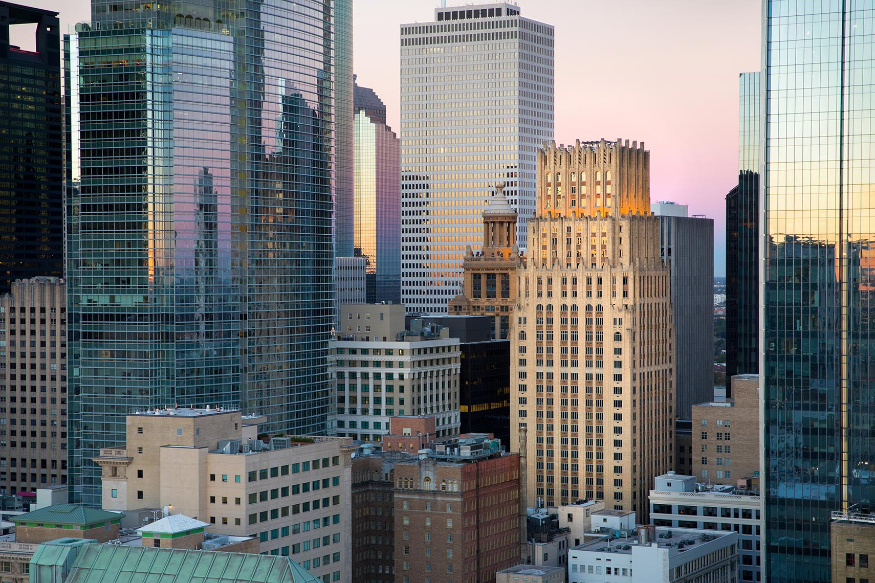 Downtown Houston Skyline at Sunrise by Houston Corporate Photographer Shannon O