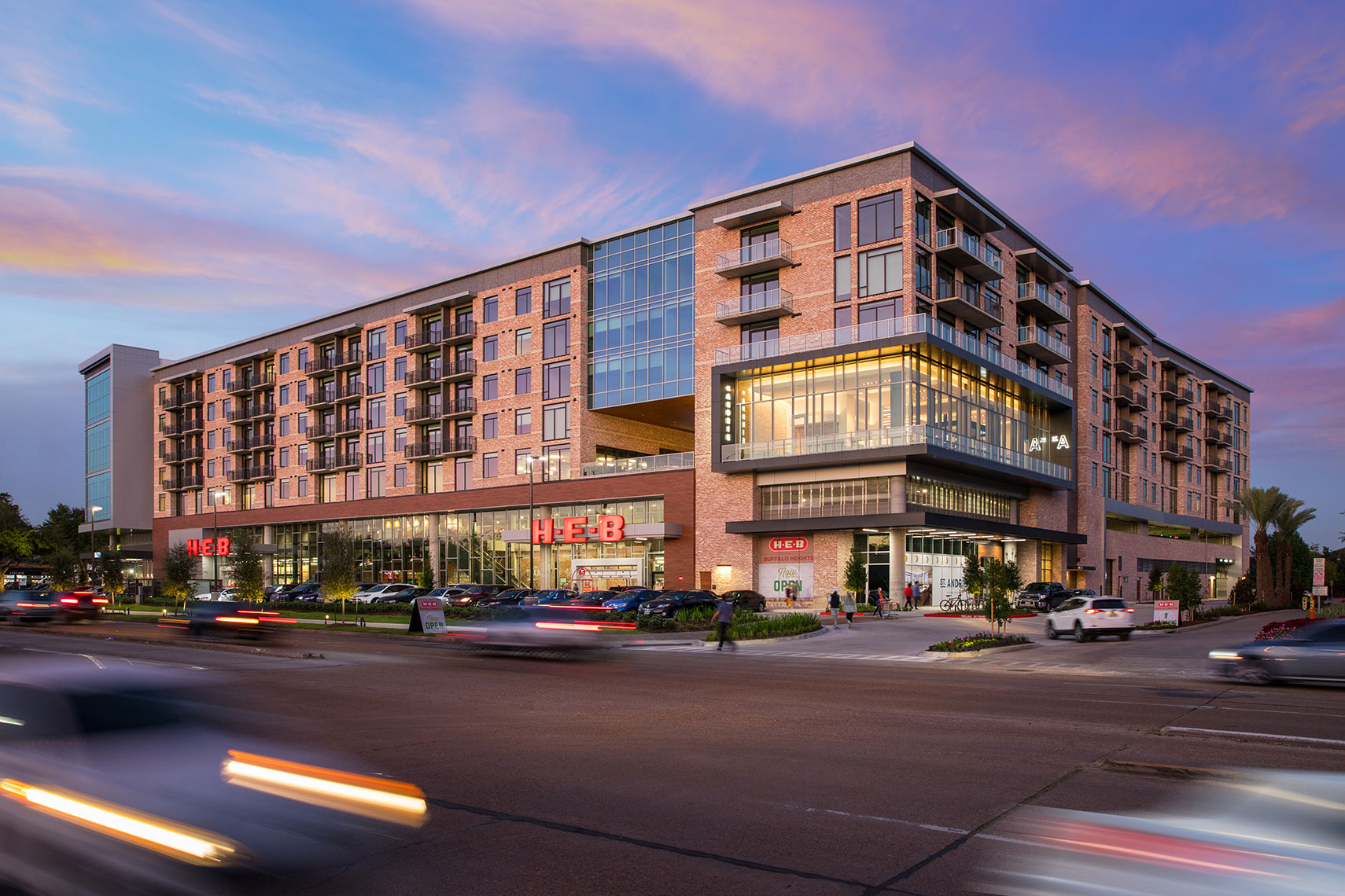 The St. Andrie at Buffalo Heights with HEB at Sunset by Houston Architecture Photographer Shannon O