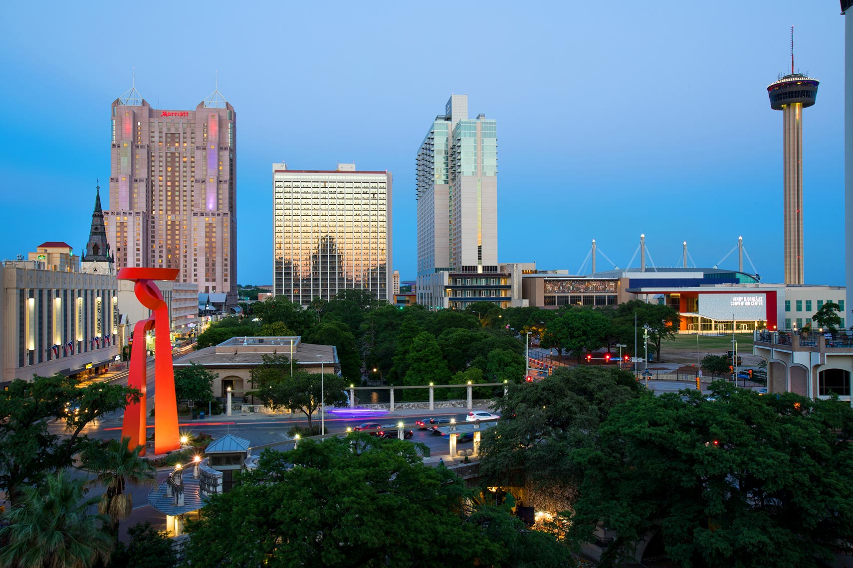 San Antonio Skyline at night by Texas Travel Photographer Shannon O