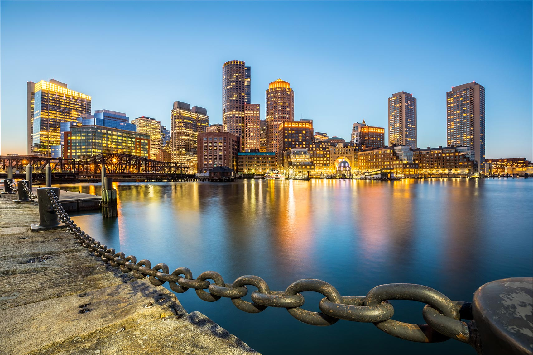 Skyline of Boston at night by Houston Travel Photographer Shannon O