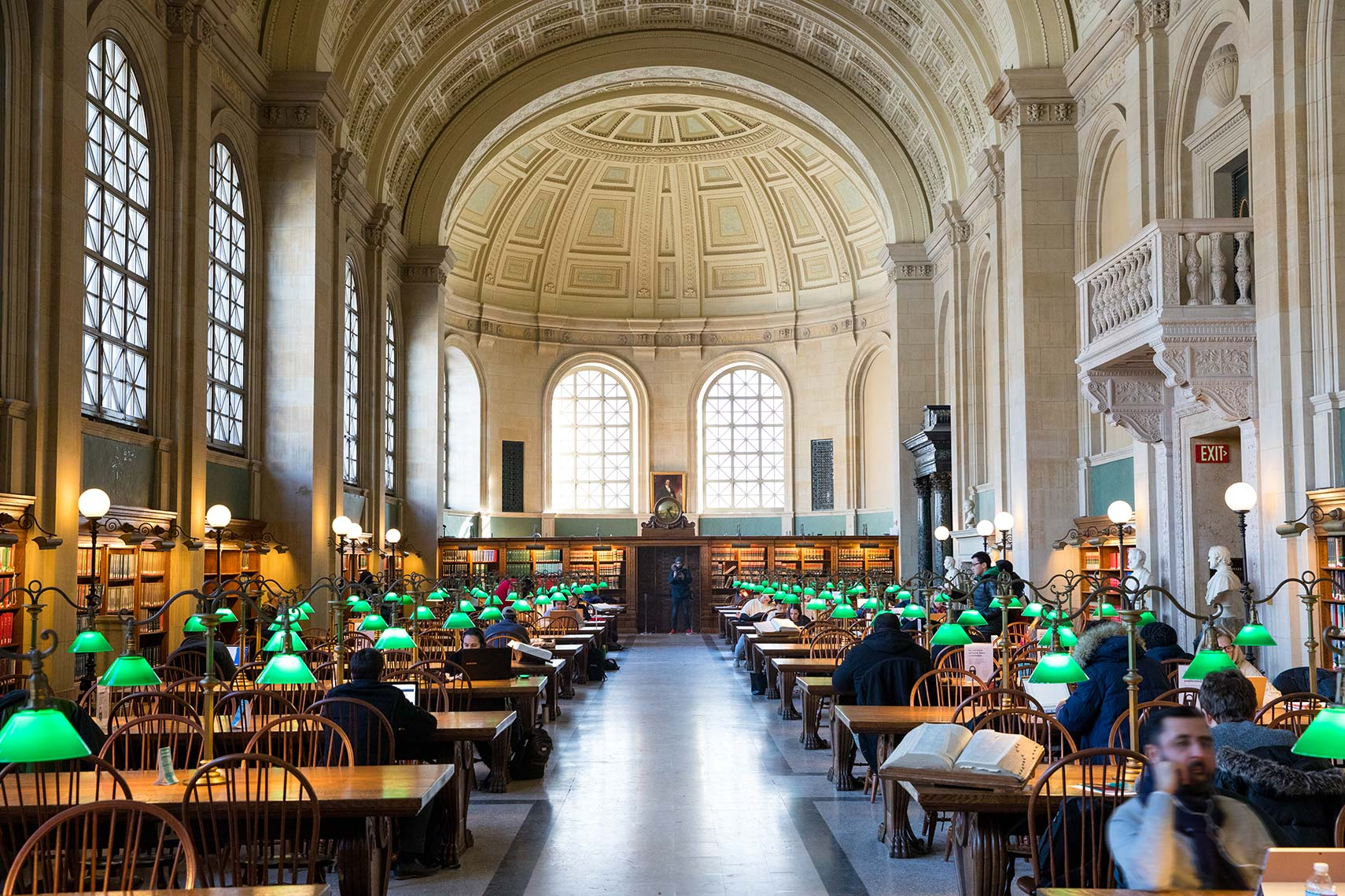 an architectural photograph of the interior of the Boston Public Library
