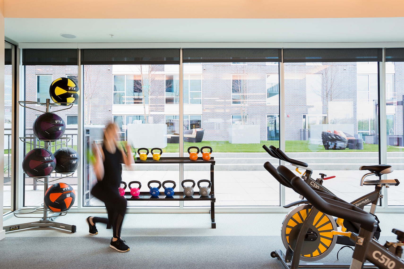 Gym at Kirby Heights a Midway Companies property. By  Houston Commercial Photographer Shannon O