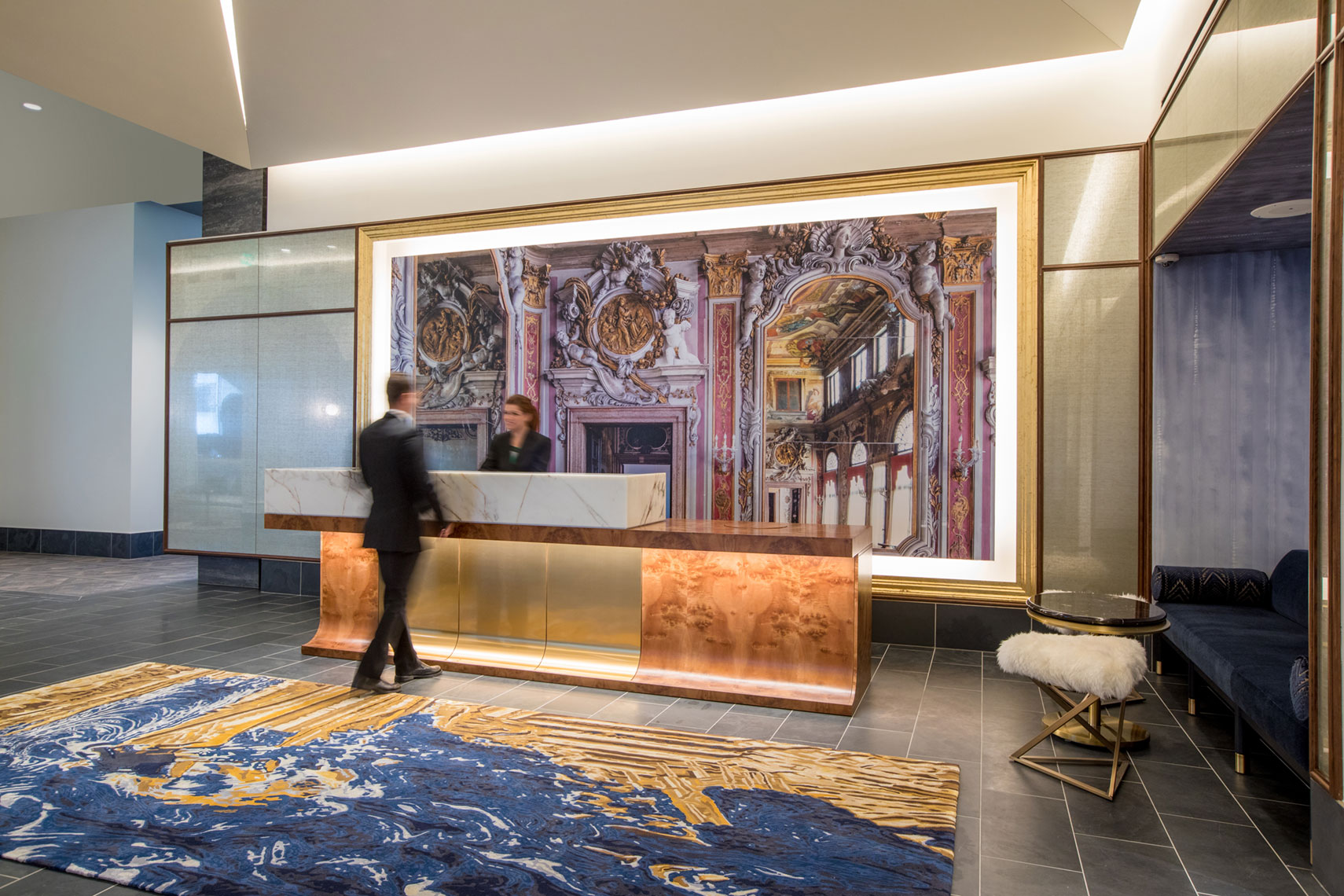 Hotel Alessandra reception desk at GreenStreet in Houston by Texas  Best Architectural Photographer