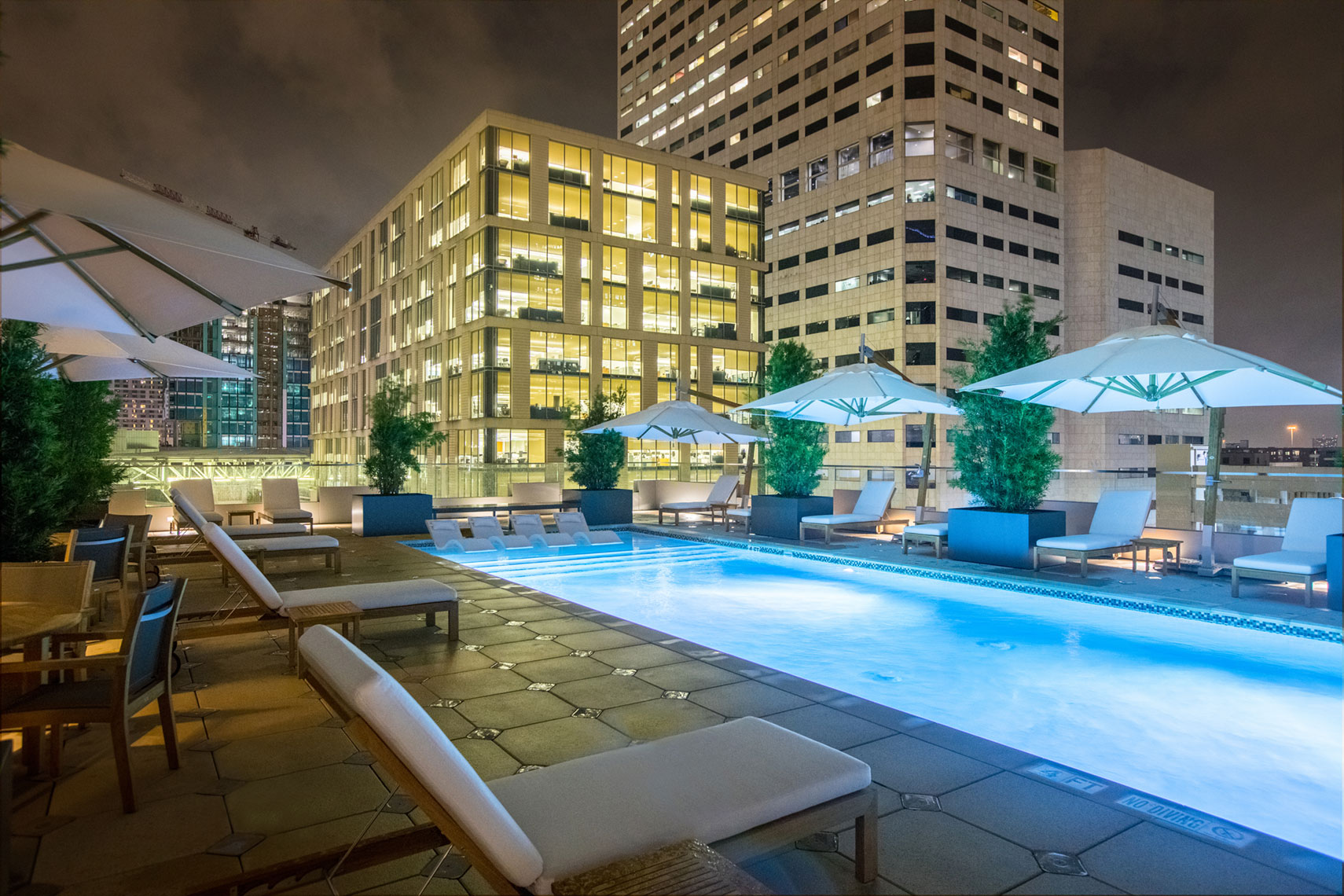 Hotel Pool at Hotel Alessandra at GreenStreet in Houston by Texas Top Architectural Photographer Shannon O
