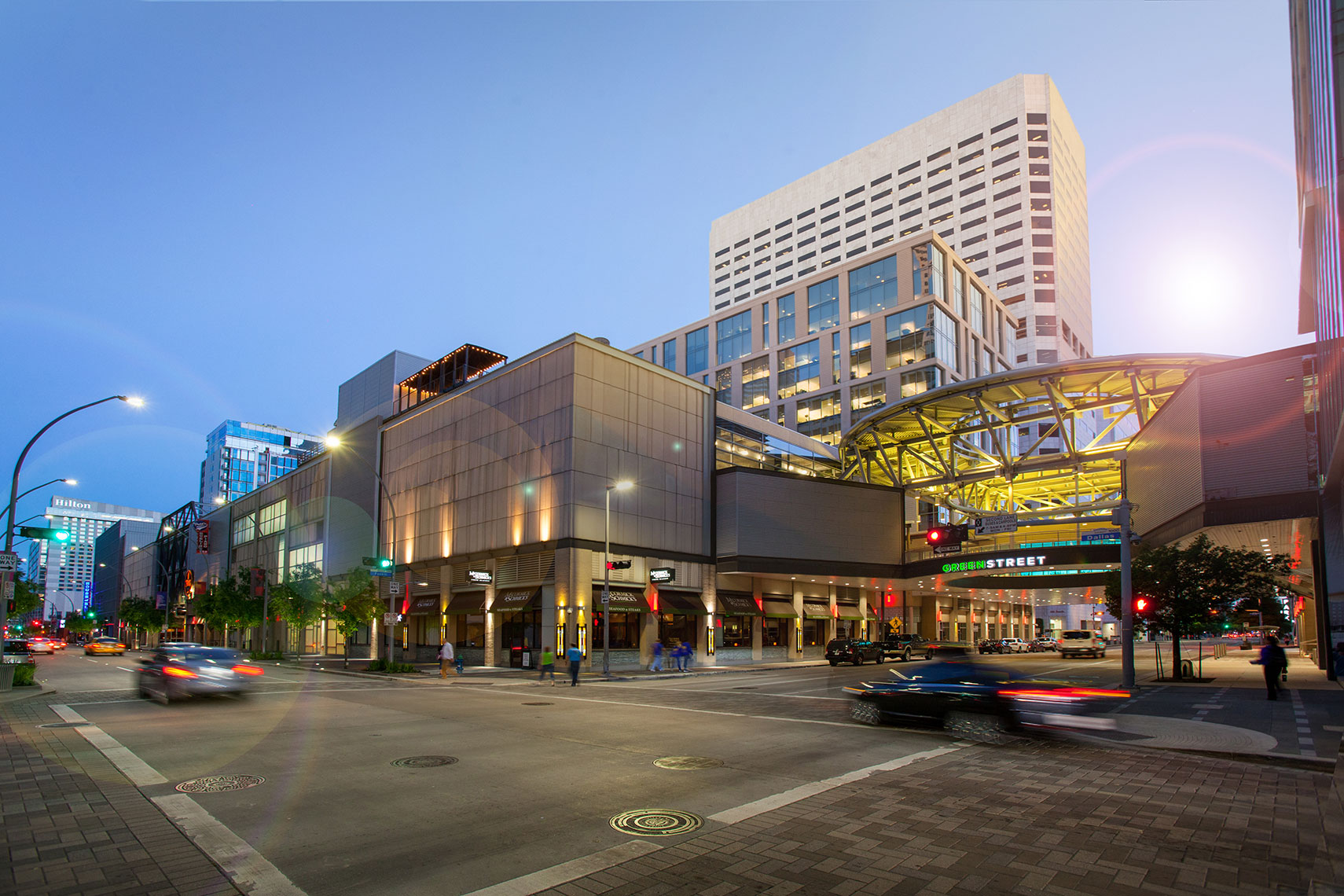 architectural photography of multi use shopping center called GreenStreet in Houston, Texas
