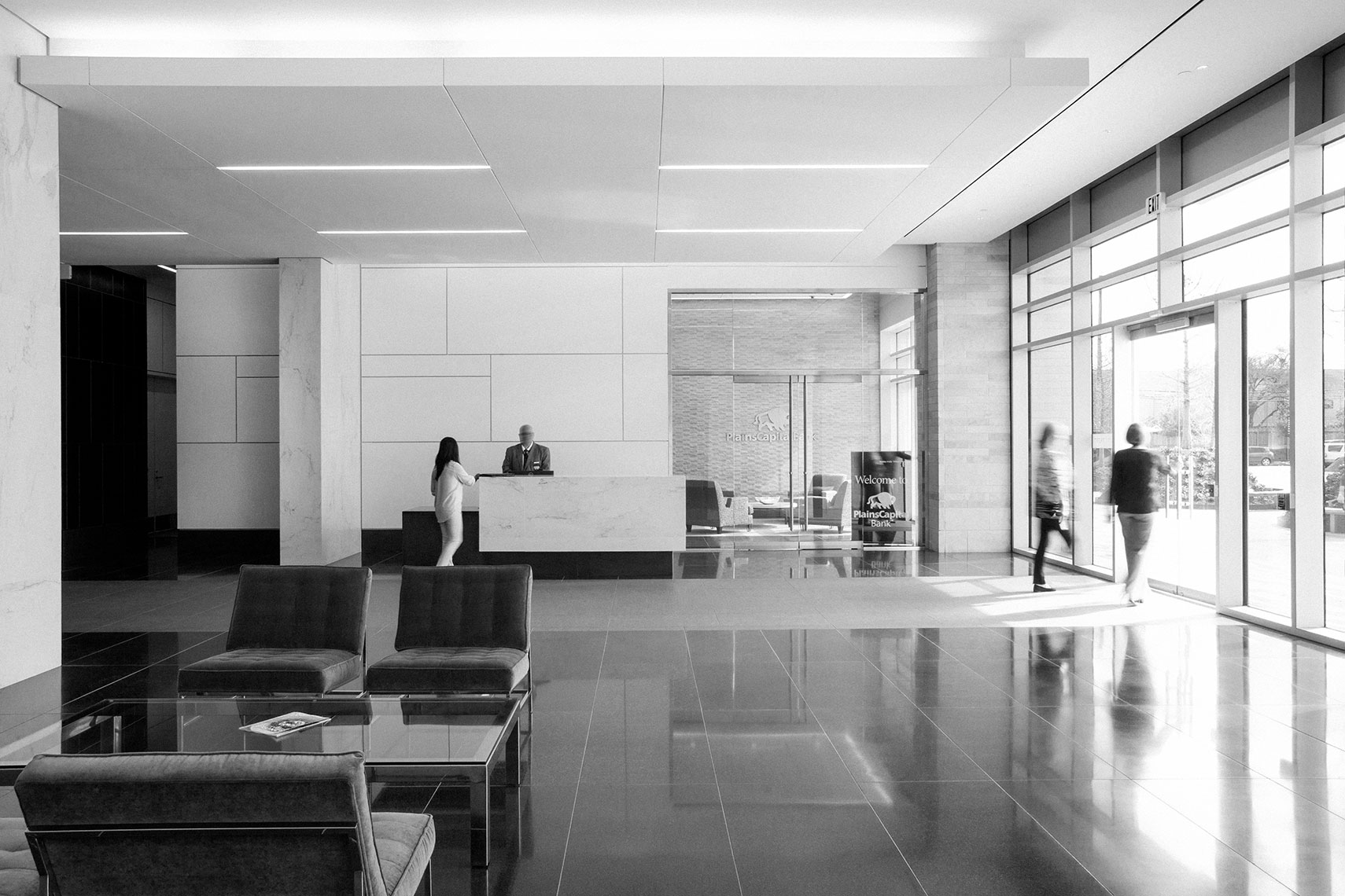 an example of the best architectural photography of a corporate lobby by a commercial photographer in Houston